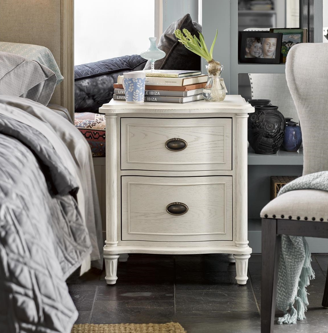 Universal Furniture Amity French Oak 2 Drawer Nightstand - White