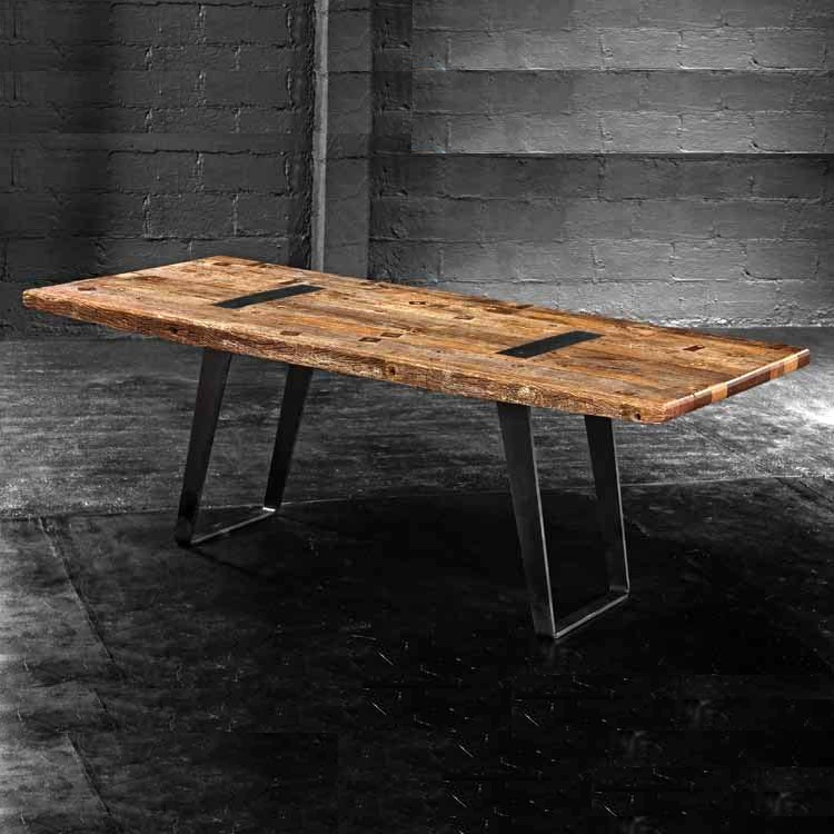 Rustic dining table top best home decoration world class for Steel dining table design
