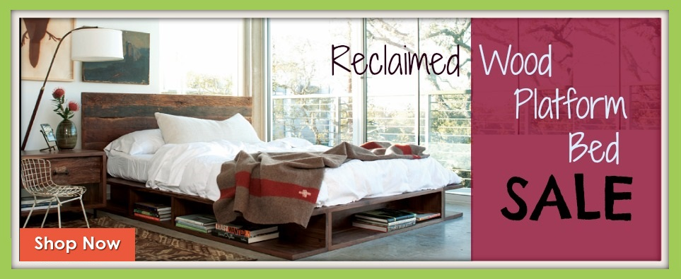 Modern Reclaimed and Salvaged Wood Platform Bed Sale