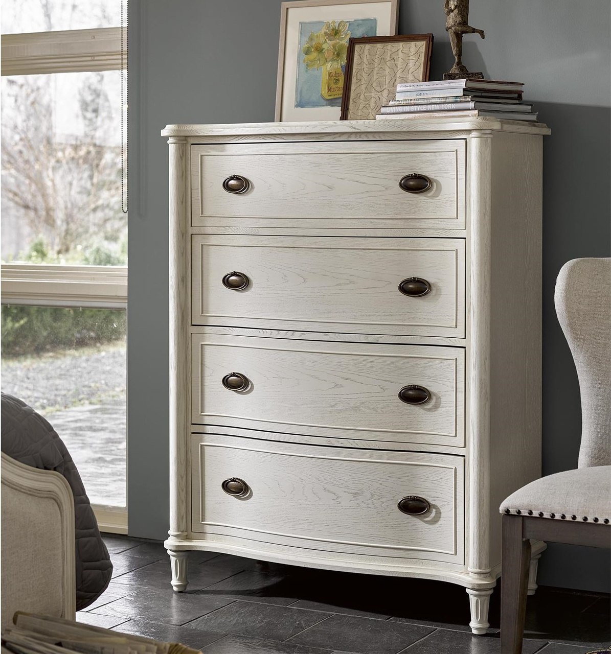 Universal Furniture Amity French Oak Wood 4 Drawer Chest - White