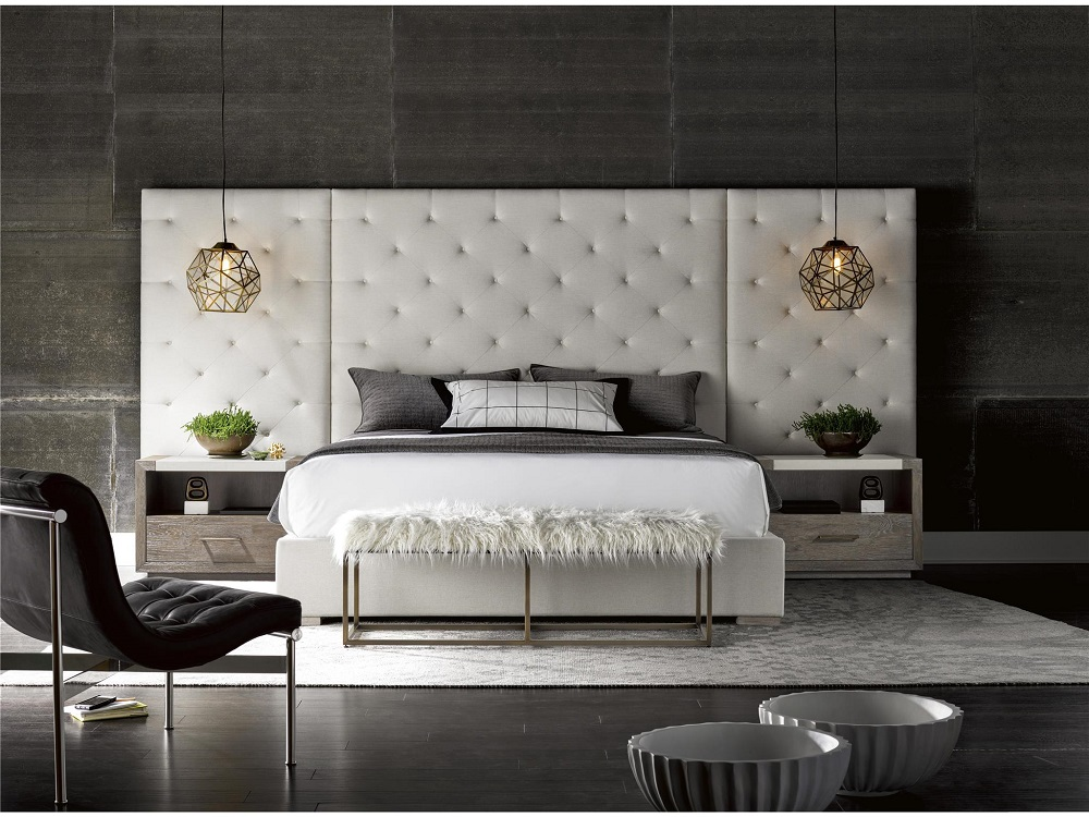Extended Headboard Fabric Platform Bed
