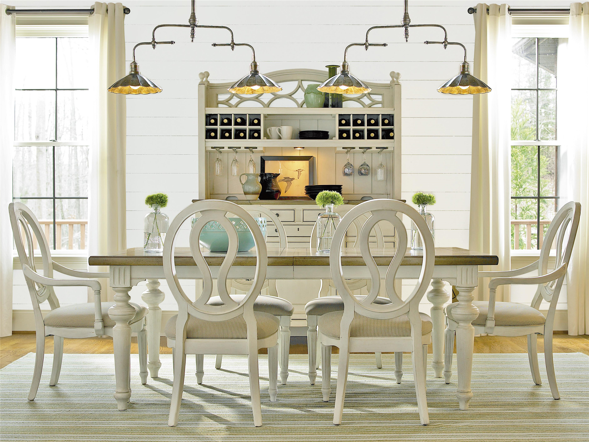Country Chic Wood 7 Piece White, Dining Room Sets With Expandable Table