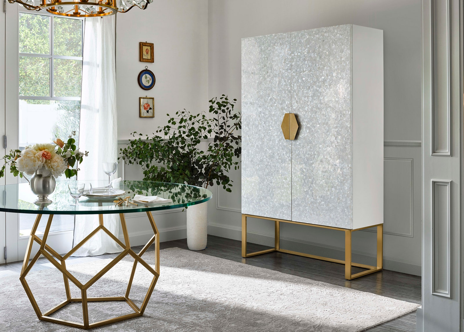Opaline Mother of Pearl 2 Door Bar Cabinet
