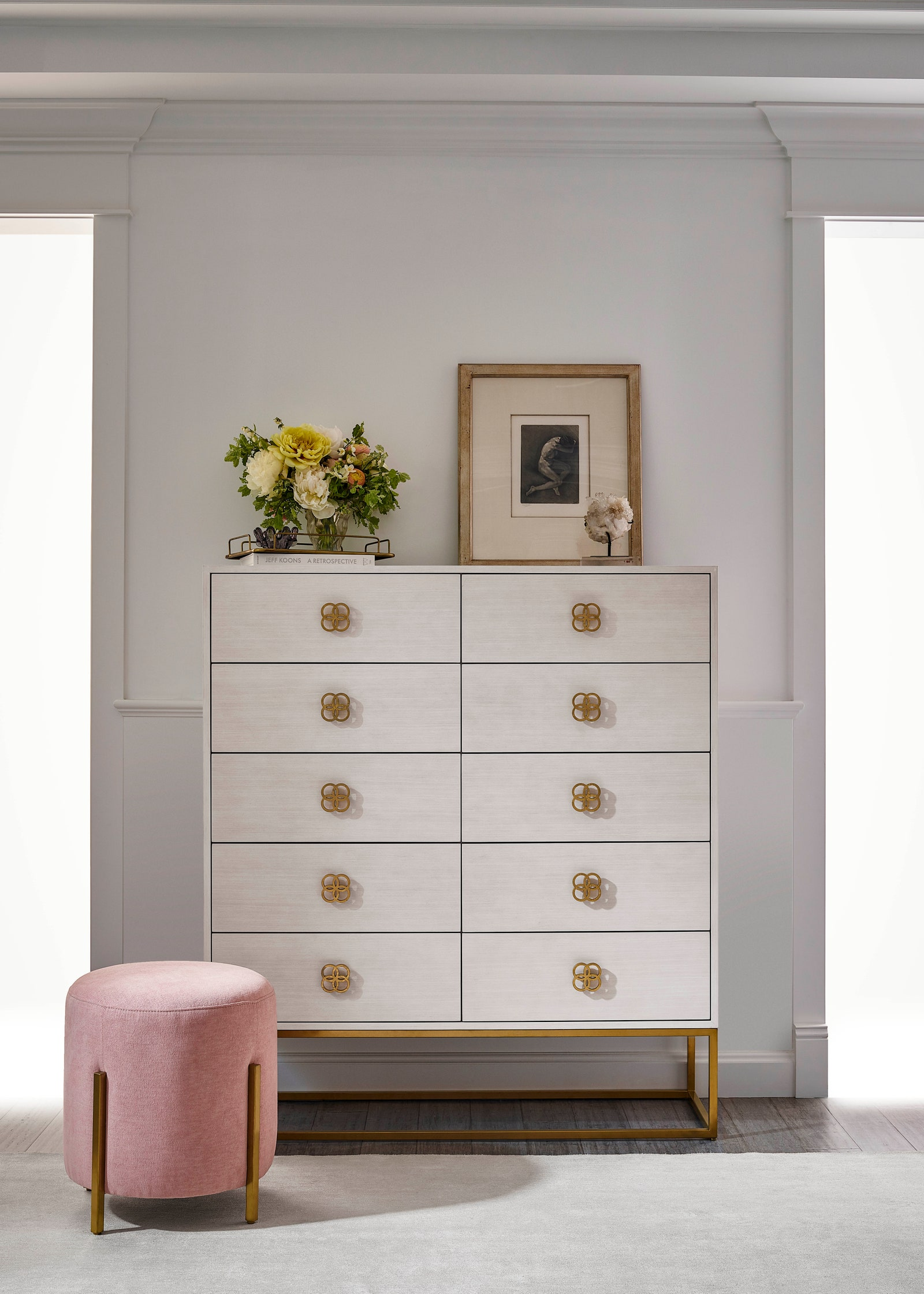 Peony Gold + White 10 Drawers Chest